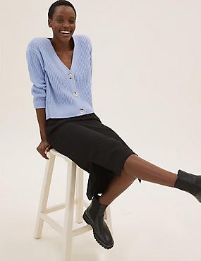 Crepe Side Split Midi Skirt