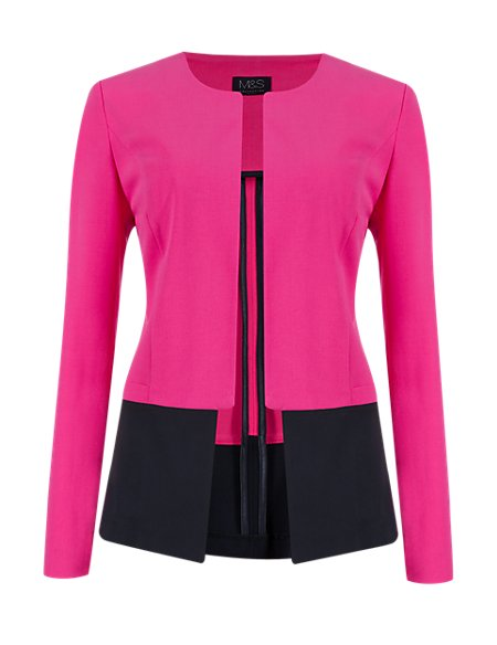 Open Front Stepped Seam Jacket