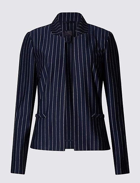 Pinstriped Jersey Jacket