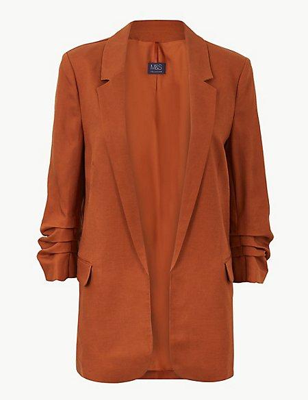 Linen Blend Open Front Blazer