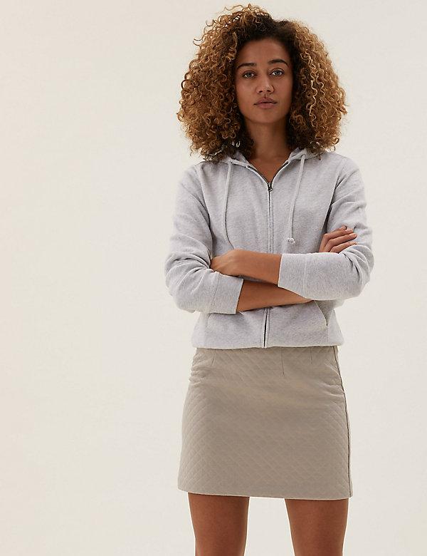 Minijupe évasée en jersey à motif losanges, effet ouatiné