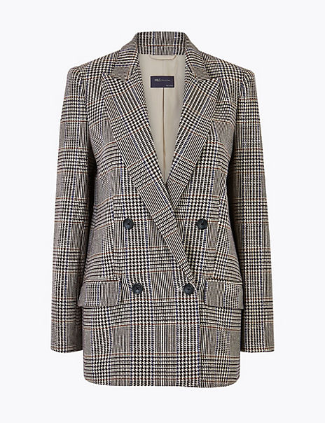 Italian Wool Checked Double Breasted Blazer