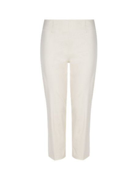 Cotton Rich Cropped Tapered Leg Trousers