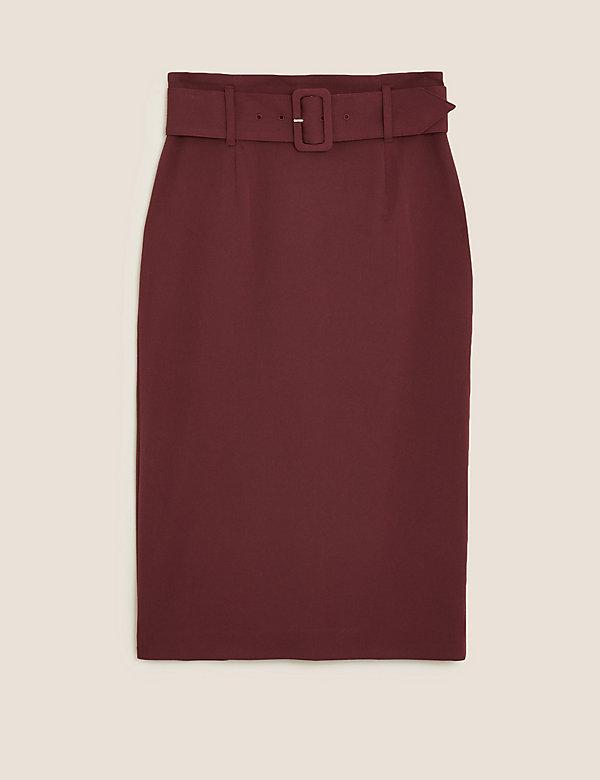 Belted Knee Length Pencil Skirt