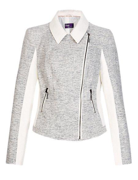 Twiggy for M&S Collection Tweed Biker Jacket