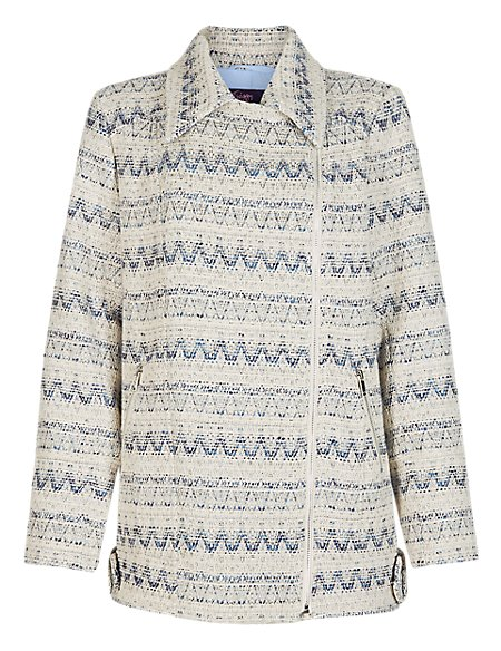 Twiggy for M&S Collection Oversized Biker Jacket with Wool