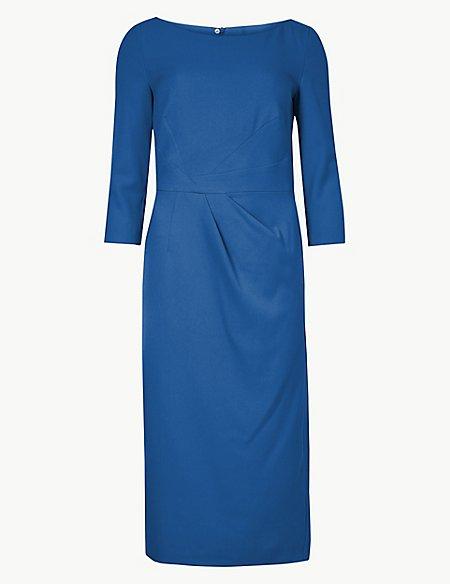 Pleated 3/4 Sleeve Bodycon Dress