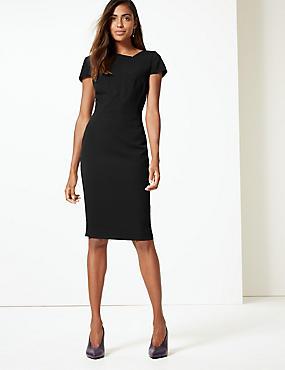 Pleated Square Neck Bodycon Midi Dress , BLACK, catlanding