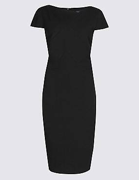 Pleated Square Neck Bodycon Midi Dress