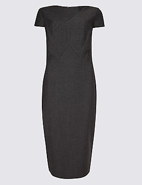 Textured Short Sleeve Bodycon Midi Dress