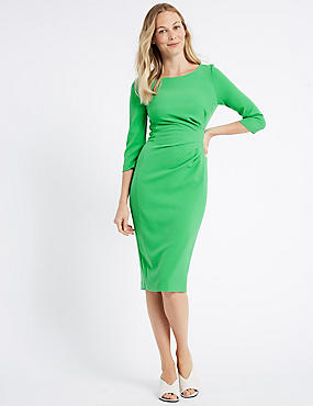 Drape 3/4 Sleeve Shift Midi Dress, GREEN, catlanding