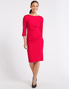 Twisted Front 3/4 Sleeve Bodycon Midi Dress