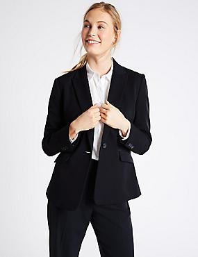 Grosgrain Trim Single Button Jacket