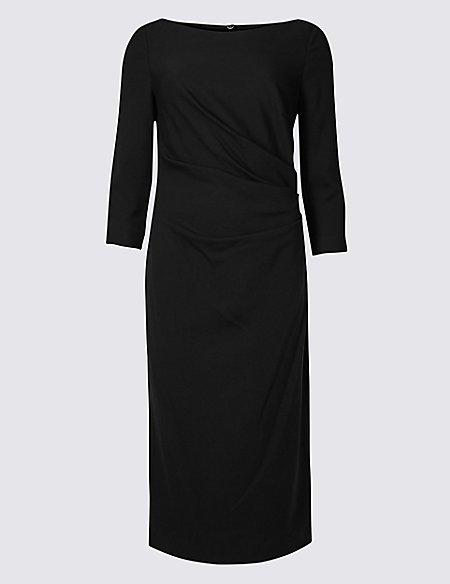Side Fold 3/4 Sleeve Shift Midi Dress