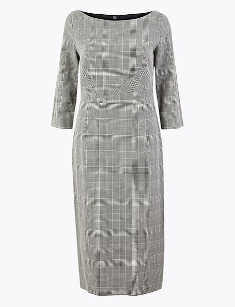 Cotton Blend Checked Bodycon Midi Dress