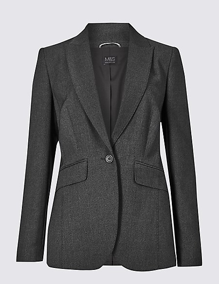 Textured Single Breasted Blazer