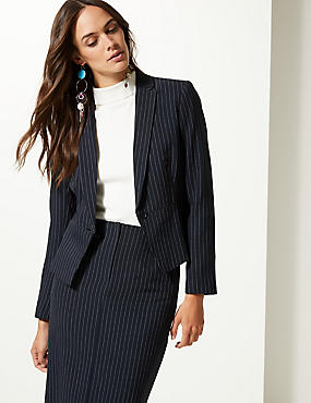 Striped Single Breasted Blazer