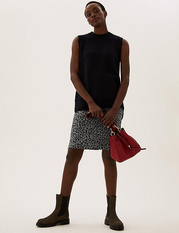 Jersey Animal Jacquard Knee Length Skirt