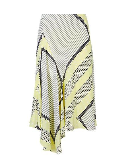 Pure Silk Scarf Print Asymmetric Skirt