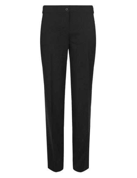 Flat Front Slim Leg Trousers