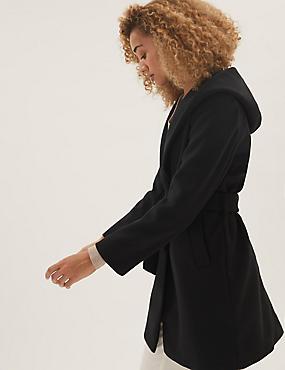 Ζακέτα-παλτό με κουκούλα και ζώνη