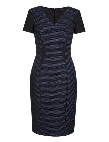 Geometric Print Insert Waist Shift Dress