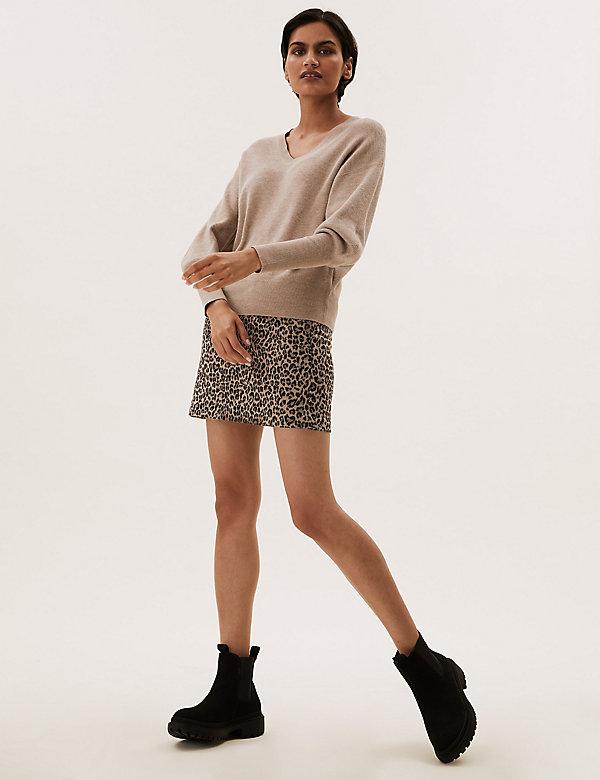 Minijupe évasée en jersey à imprimé animal façon jacquard