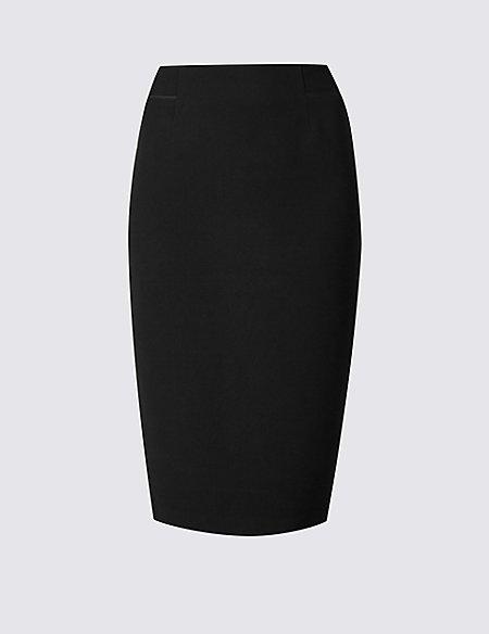 Grosgrain Trim Pencil Midi Skirt