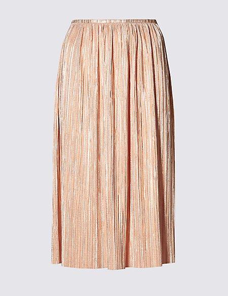 Metallic Effect Pleated Skirt