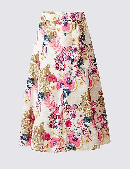 Pure Cotton Floral Print A-Line Midi Skirt