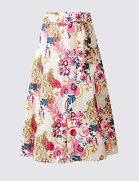 Pure Cotton Floral Print A-Line Midi Skirt
