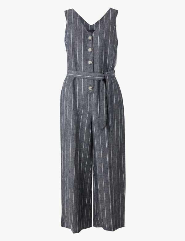 a2a91363a32 Pure Linen Striped Jumpsuit