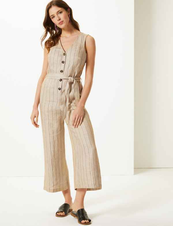 abb7008487b Pure Linen Striped Jumpsuit