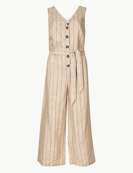 Pure Linen Striped Jumpsuit