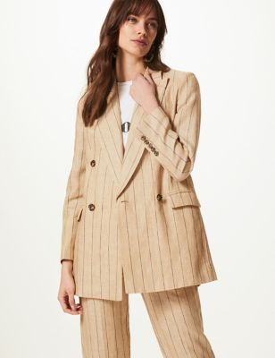 Oversized blazer van zuiver linnen met streepmotief