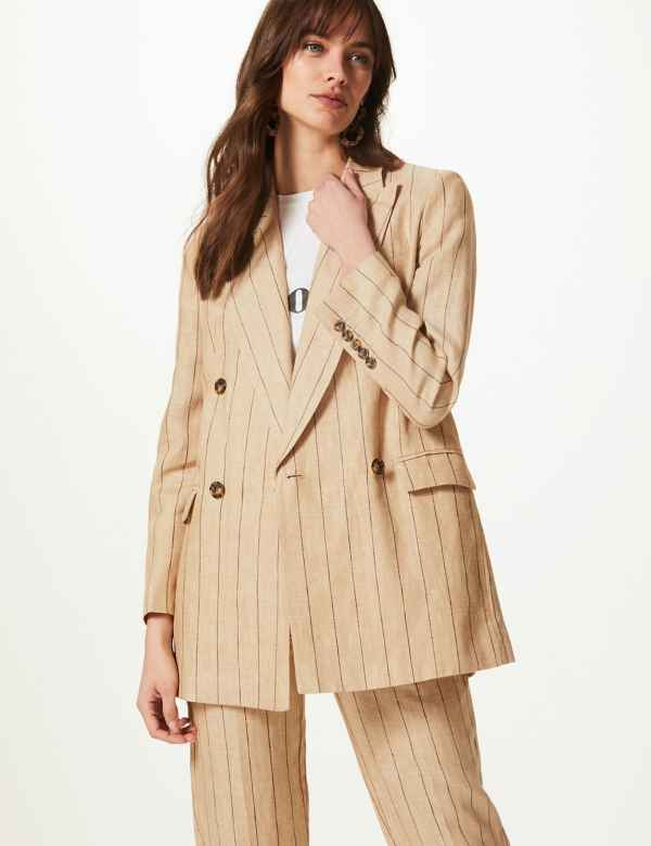 97667e25e951e Pure Linen Oversized Striped Blazer
