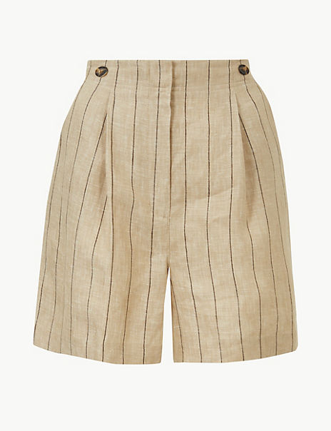 Pure Linen Striped Shorts