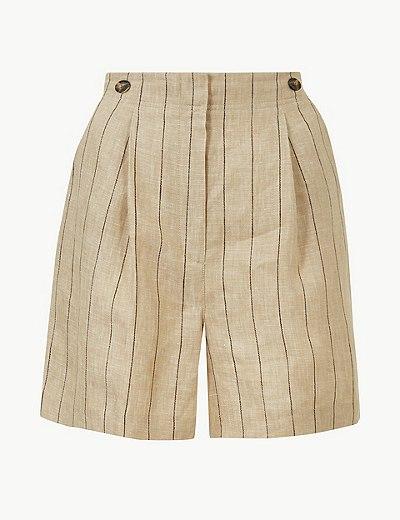 Pantalón corto de lino de rayas  66b73561fcc41