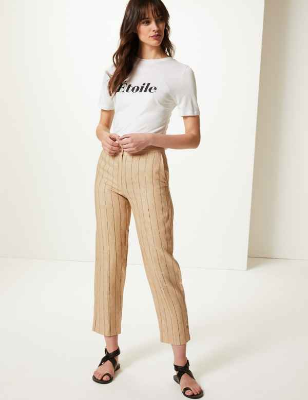 867e661c409bb Pure Linen Striped Ankle Grazer Trousers