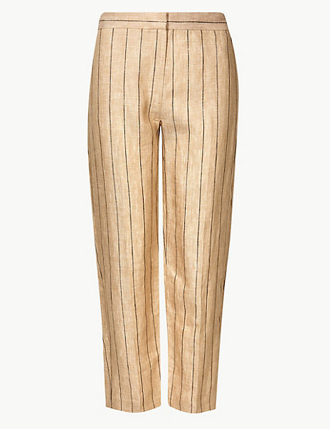 Pure Linen Striped Ankle Grazer Trousers