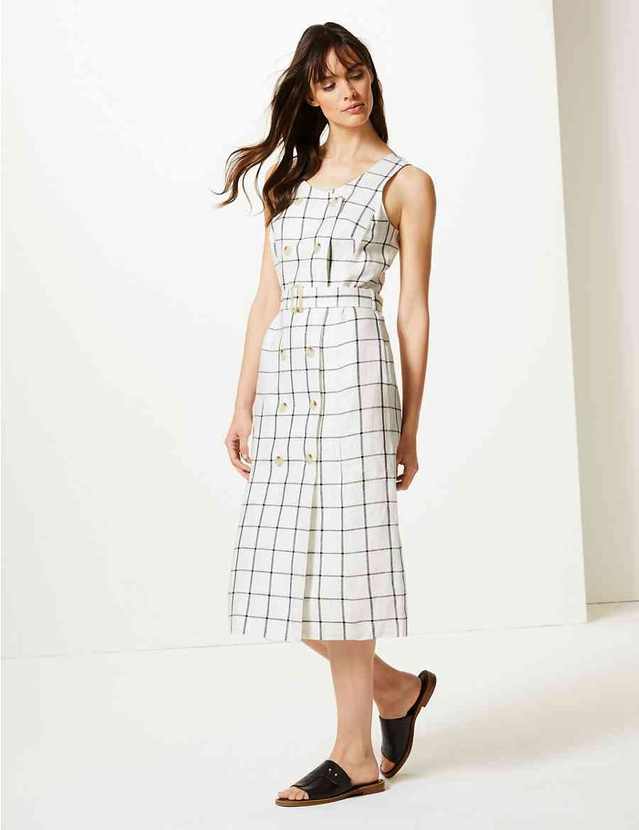 2ef4cf1bb5 Pure Linen Checked Relaxed Midi Dress