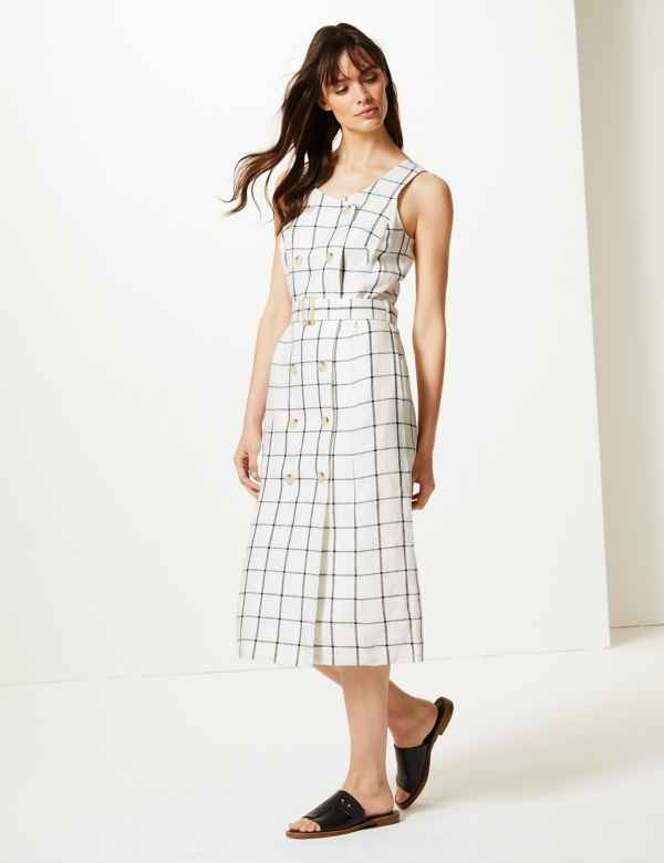 c972d275142f Pure Linen Checked Relaxed Midi Dress