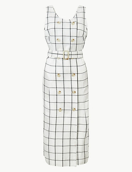 Pure Linen Checked Waisted Midi Dress