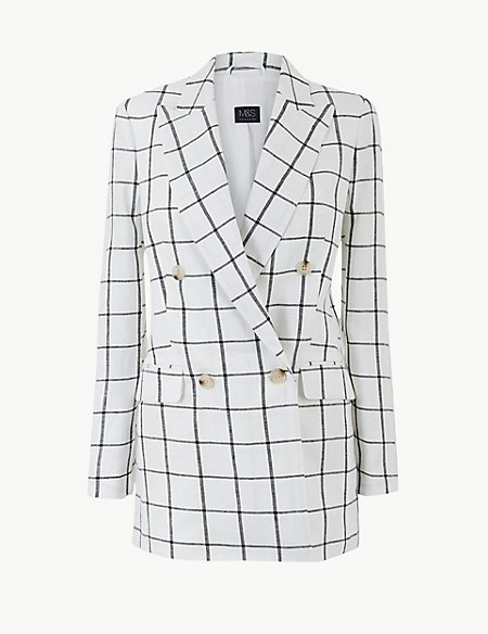 Pure Linen Checked Double Breasted Blazer