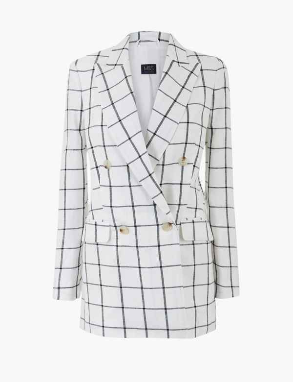 b979eda6bf Pure Linen Checked Double Breasted Blazer