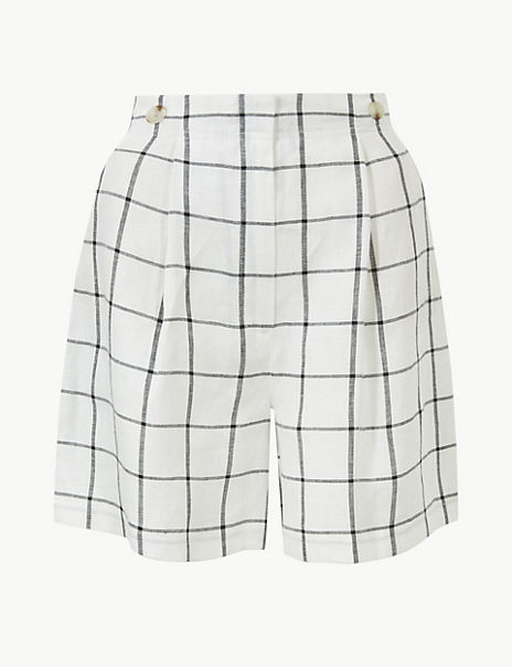 Pure Linen Checked Shorts