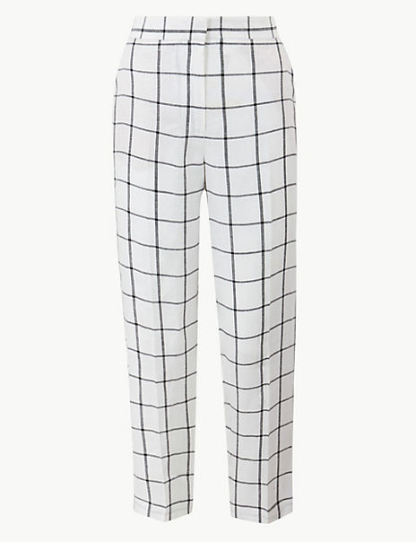 Pure Linen Checked Ankle Grazer Trousers