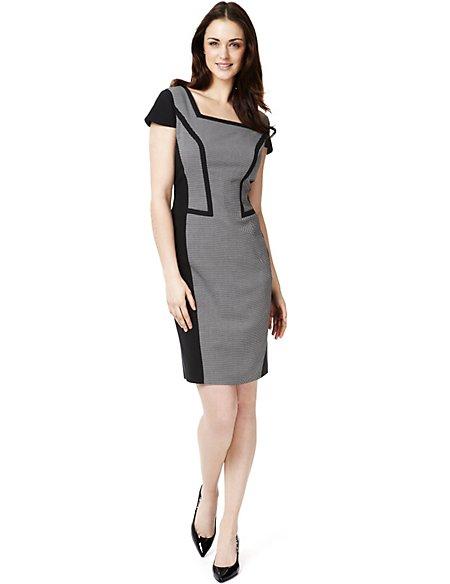 Square Neck Panelled Colour Block Dress
