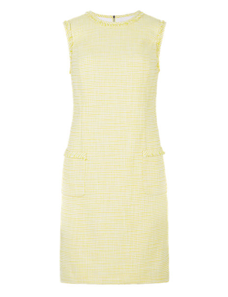 Sleeveless Tweed Shift Dress