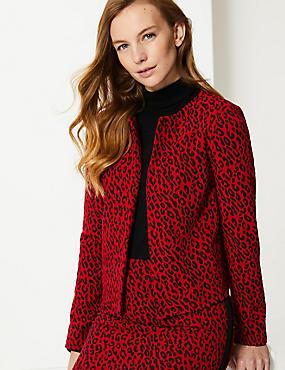 Animal Print Long Sleeve Blazer